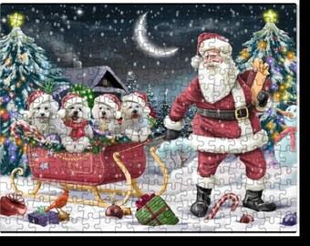 Merry Christmas Happy Holiday Santa Sled Bichon Frise Dog Puzzle with Photo Tin