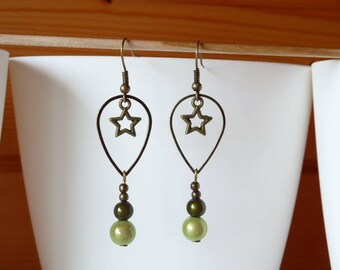 Dangle drop earrings bronze, Star and pearls magic