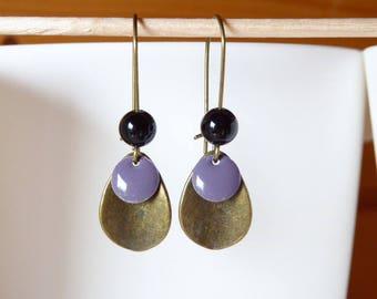 Purple sequin and Black Pearl drop pendant bronze