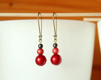 Earrings sleepers red and black magic pearls