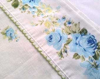 Full Flat Sheet Cottage White with Blue Roses
