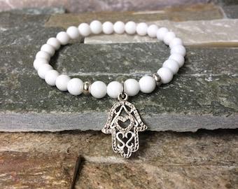 Hamsa bracelet mala bracelet jade harmony