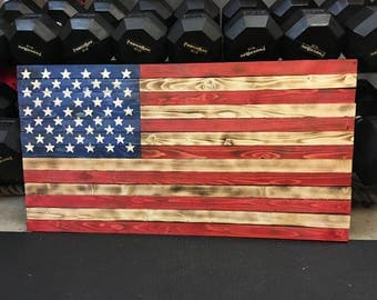 Rustic Wooden American Flag, Charred w/ Color, Burned Flag, Wooden Flag, US Flag, Wood Sign, Wall Art, American Flag, Flag, Gift for Him,