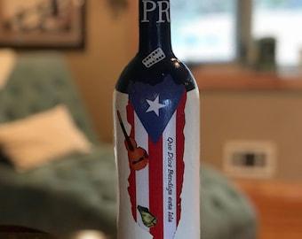 PUERTO RICO   Que Dios Bendiga Puerto Rico Decorated Boricua Bottle
