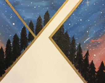 Hand-painted geometric galaxy
