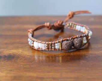 Brown/ White Diffuser Bracelet