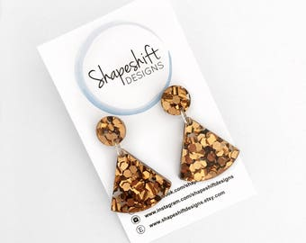 Chunky Bronze Glitter Dangle Earrings
