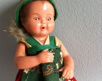 Little Alpine doll, 10cm sleepy eyes, moving arms and legs, Bavarian costume doll.