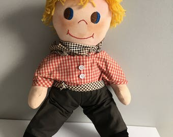 Vintage Cowboy Rag doll, handmade 1980's, 45 cm tall, missing hat.