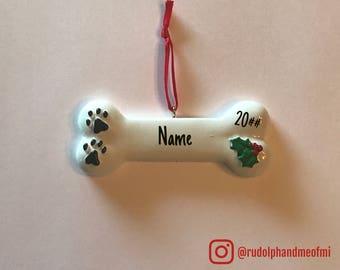 Dog Bone Ornament, Personalized