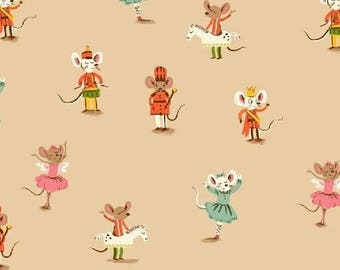 PREORDER - Heather Ross Dancing Mice in Pink Sugar Plum Collection Fabric Yardage Arrives May 2018