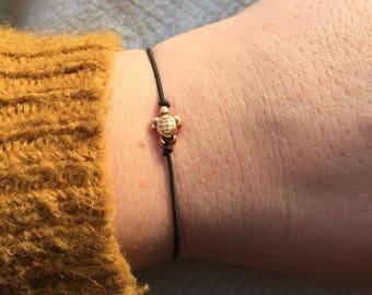 TORTUGUERO turqoise turtle on small marineblue elastic bracelet