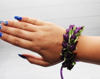plum wirst corsage purple wedding corsage bridesmaid corsage flower girl  bridal flower bracelet bridal flower corsage