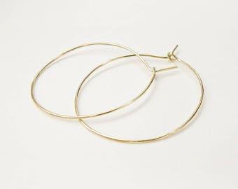 Gold hoop earrings, Minimalist earrings, Gold earrings, Delicate hoops, Hoop earrings, Classic hoops, Dainty hoops, Brass hoops, boho