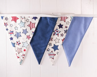 Blue StsrBunting - Blue and stars, hanging display. boys nursery, birthday parties, bedroom decor, or beach theme
