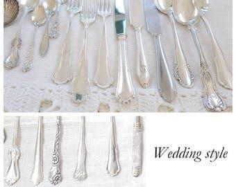 Mismatched flatware, flatware se, silverware set, flatware set, flatware service for 4 up to 300, wedding silverware, mix and match
