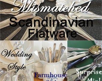 Mismatched flatware, silverware set, flatware set, flatware service for 4 up to 500, wedding silverware, mix and match, farmhouse style