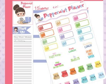 Lunch Boxes -- Lunch Bags -- Planner Stickers -- Track your Lunch -- #435