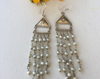 Sterling Silver and Natural Pearl Vintage Earrings