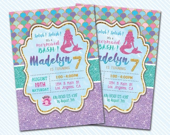 Digital Printable Mermaid Birthday Invitation. Girl Birthday.
