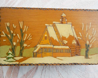 Vintage Russian Pokerwork Wooden Box, Painted Winter Scene With Snow & Church, 1960s, Hand Crafted