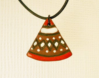 Judy Laws Ceramic Pendant Necklace, Vintage 1960s 1970s Boho Jewellery