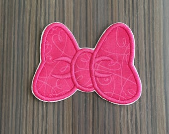 Pink Minnie Mouse Bow Iron on Applique Patch