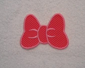 Pink Polka Dot Minnie Mouse Bow Iron on Applique Patch