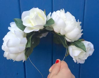 White Flower Band, White Flower Crown, White Rose, Peony Headband, Winter Wedding, Boho Hair, Ivy Hair Accessory, Rose Flower Crown