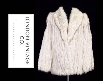Vintage blue/white/arctic/polar real fur jacket/coat with smoky tones and suede inserts.small size,perfect for winter