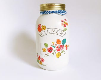 Woodland floral decorative jar• gift for her • nursery decor •
