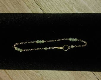 Dainty Silver Chain Dot and Dash Bracelet with Mossy, Aqua/ Light Green Beads