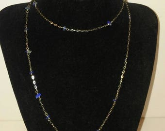 Long Sterling Chain and Lapis Chip Necklace - Dot and Dash Style Necklace