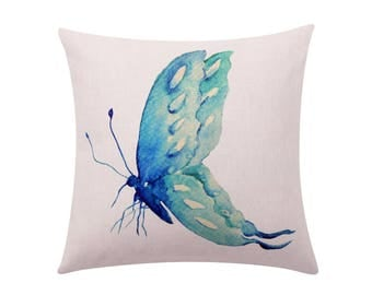 Watercolor butterfly throw pillow covers Turquoise butterfly decorative pillow case Swallowtail butterfly cushion cover Sofahome decor 18x18