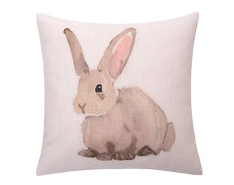 Watercolor rabbit throw pillow cover Bunny rabbit decorative pillow case Easter rabbit cushion cover Linen cushion case Sofa home decor18x18