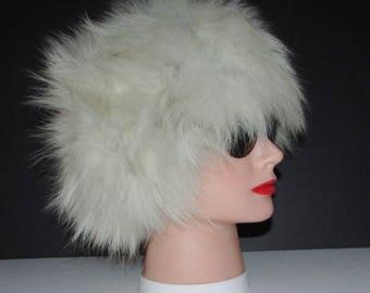 """Superbe chapeau de véritable fourrure de  renard blanc/Superbe vintage  real fluffy white fox  fur hat   small  20""""1/2"""