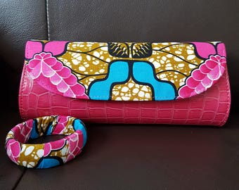 ankara clutch purse with bangle/ankara purse/ ankara clutch bag