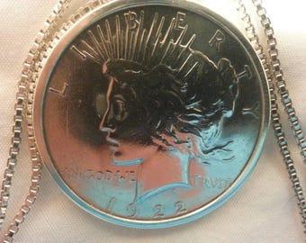 1922 SILVER DOLLAR-Peace Dollar- Necklace