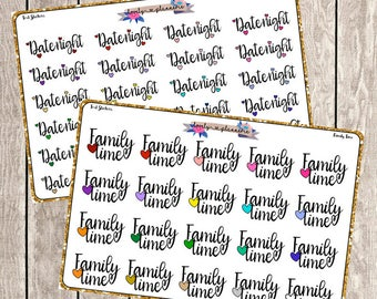 Script Stickers, Date Night, Family Time, Planner Stickers, Text Stickers