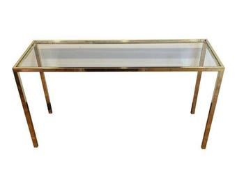 Vintage DIA Brass U0026 Glass Console Table