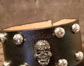 Genuine leather bling skull cuff bracelet