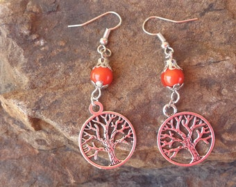 Orange and silver tree of life Stud Earrings