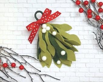 Felt mistletoe, mistletoe decoration, Christmas mistletoe