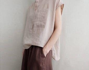 Women Leisure Linen Blouse Loose T-shirt Asymmetrical Tops Cotton Shirt With Pockets