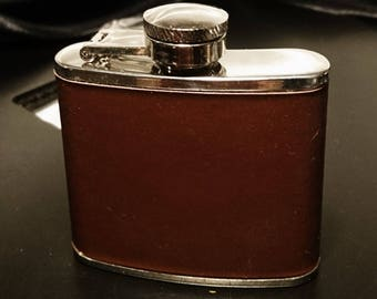 Small leather hip flask, screw top, 2oz English steel hip flask