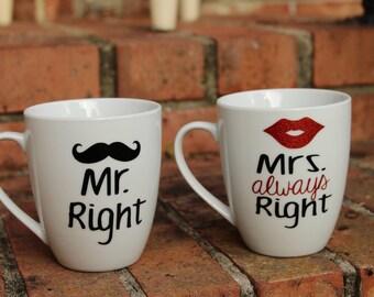Mr. Right/Mrs. Always Right Coffee Mug Set