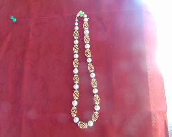 vintage vendome pearl and rhinestone  with gold plated cages necklace