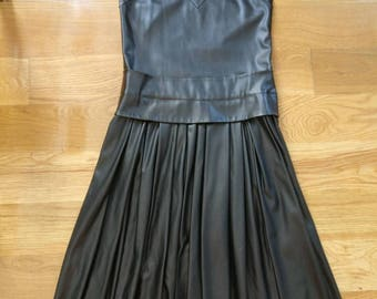 DKNY faux leather black maxi dress