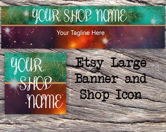 ETSY LARGE COVER and Shop Icon-Cosmic Fantasy Cover Photo-Premade Cosmic Etsy Set-New Age Etsy-Galaxy Large Cover-Stars #127