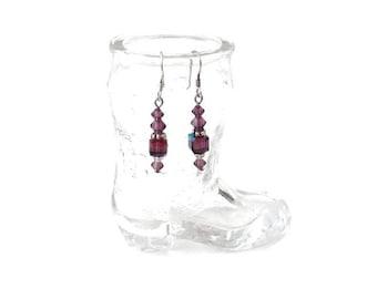 February Birthsotne Amethyst Swarovski Crystal Silver Earrings